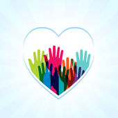 Colors hands up in hearts shape — Stock Photo