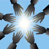 Hands reaching for the sun with blue sky and light rays — Stock Photo