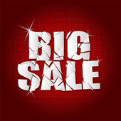 Big sale inscription broken with red background — Stock Vector