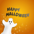 Funny ghost shape with Happy Halloween message — Stock Vector
