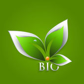 Bio green leaves abstract background — ストックベクタ