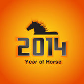 2014 Year of horse with shadow effect — Stock Vector