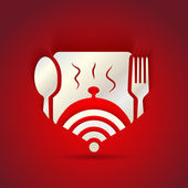 Icon concept for restaurant menu and free WiFi zone — Stock Photo