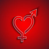 Paper male and female sex symbol concept with shadow effect on red background greeting card — Stock Photo