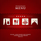 Vector paper Restaurant Menu design on red background cover — Stock Photo
