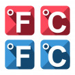 Celsius and Fahrenheit symbol icon set — Stock Vector #38917219