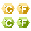 Flat design Celsius and Fahrenheit symbol icon set isolated on white — Stock Vector #38917227
