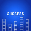 Stock Vector: Ladder competition to success-concept business success