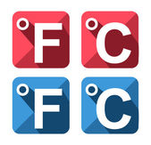 Celsius and Fahrenheit symbol icon set — Stock Vector