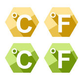 Flat design Celsius and Fahrenheit symbol icon set isolated on white — Stock Vector