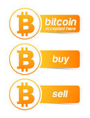 Bitcoin sticker banner set — Stock Vector