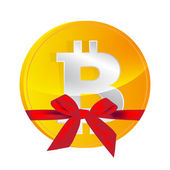 Bitcoin coin with gift bow isolated — Stock Vector