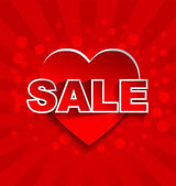Sale text with red heart - love sale background concept — 图库矢量图片