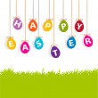 Colored hanging eggs Easter card — Stock Photo