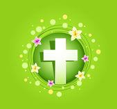 Easter religious cross spring card — Stock Photo
