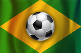 Brazilian country flag with soccer  ball World Cup 2014 — Stock Vector