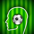 Human head with soccer ball - Football fan — Stock Vector