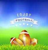 Американский футбол шарики на зеленом поле - спортивный фон — Cтоковый вектор