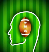 Human head with rugby,football american  ball - Rugby,American football fan — Vector de stock