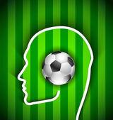 Human head with soccer ball - Football fan — Stock Vector