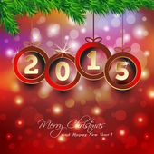 Happy new year 2015 background with Christmas bauble — Stock Vector