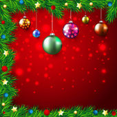 Christmas Colorful Background with lights and baubles, stars,fir branches — Vector de stock