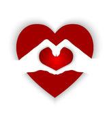 На руках, образуя формы сердца в форме сердца — Cтоковый вектор