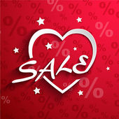 Sale  poster.Paper heart shape with word SALE ,stars ,shadow effect and percent discount background — Stok Vektör