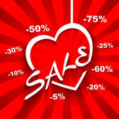 Creative Love  Sale poster with discount sale percent on red background — Vector de stock