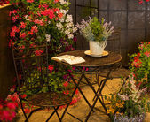 Relaxation area surrounded by beautiful flowers — Stockfoto