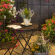 Old chairs and table in garden with many colored flowers — Stock Photo