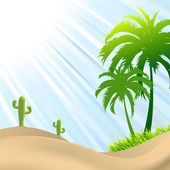 Illustration of desert scene with palm tree,cactus, sand dunes — Stock Vector