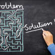 Problem and solution - solving maze - Stok fotoğraf
