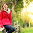 Happy multicultural fall woman — Stock Photo #22277931