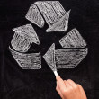 Recycling: Recycle sign on blackboard - Stock Photo