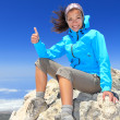 Hiker at mountain top summit - Stock Photo