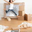 New home - moving woman excited — Stock Photo