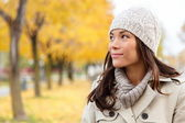 Fall woman looking portrait — Stock Photo