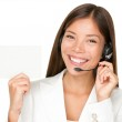 Call center headset woman sign — Stock Photo