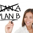 Business plan - woman drawing — Stockfoto