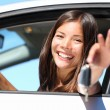 Woman driver in car showing keys — Stock Photo #22311309
