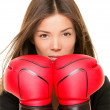 Businesswoman boxing gloves — Stock Photo