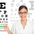 Optician or optometrist pointing at Snellen eye exam chart. — Stock Photo