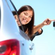 Driver woman showing new car keys — Stock Photo #22312685