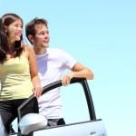 Happy Couple with car — Stock Photo