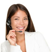 Zestaw słuchawkowy kobieta — Zdjęcie stockowe