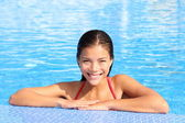 Pool woman natural beauty — Stock Photo