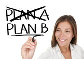 Business plan - woman drawing — Stock Photo