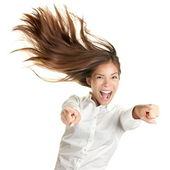 Happy crazy excited woman screaming — Stock Photo