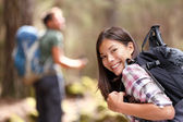 Hiker hiking in forest — Stock Photo